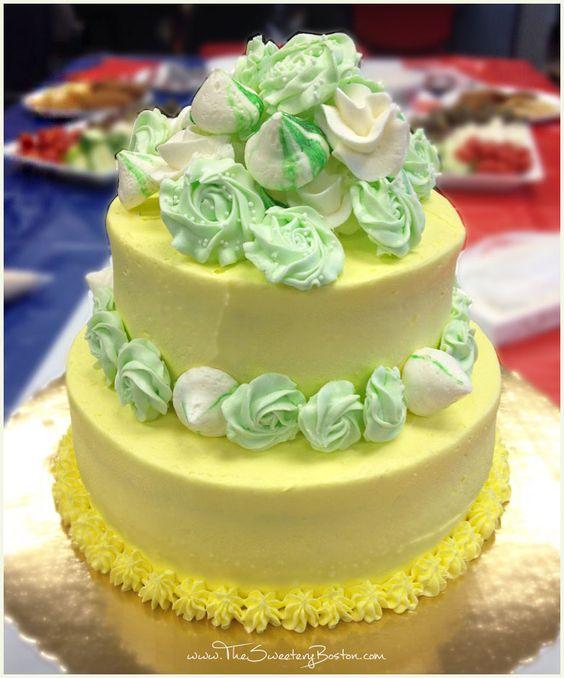 Triple Lemon Cake - lemon soaked lemon cake, lemon curd filling, lemon frosting, with buttercream decorations