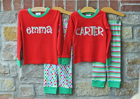 Christmas Stripe and Dots Pajamas  by julianneoriginals on Etsy, $28.00