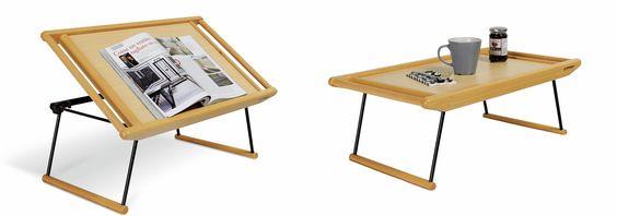Breakfast di Foppapedretti è un vassoio realizzato in legno massiccio di faggio che si trasforma in un pratico leggio per letture a letto.