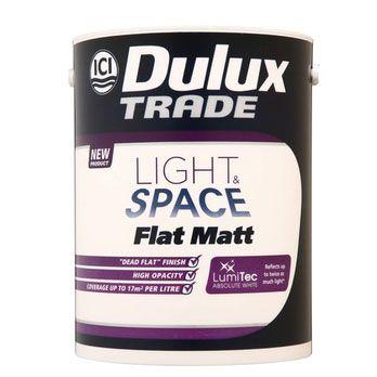 Dulux Decorator Centre. (n.d.). Dulux Trade Flat Matt Light & Space - Absolute White. [Online]. Available from: http://www.duluxdecoratorcentre.co.uk/servlet/ProductHandler?code=DDC10409 [Accessed: 2 June 2014] £43.34 inc VAT, 5L , 17m2 coverage