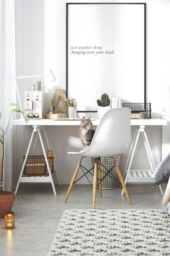 Modern Scandinavian Home Office with Inspirational Painting ...