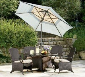 Lake Como 5 piece Dining Set with Umbrella and Base by La-Z-Boy Outdoor by La-Z-Boy Outdoor. $1425.00. 5 Year Limited Frame and 1 Year Limited Weave and Fabric Warranty. All Weather Weave and Sunsharp® Fabrics. Assembly Required. 4 Dining Chairs, 4 Lumbar Pillows, 1 Dining Table, 1 Umbrella and 1 Base. Heavy Duty Steel and Aluminum Framing. Transform your patio with La-Z-Boy Outdoor furniture, the Lake Como collection offers a classic old world design with the contemp...