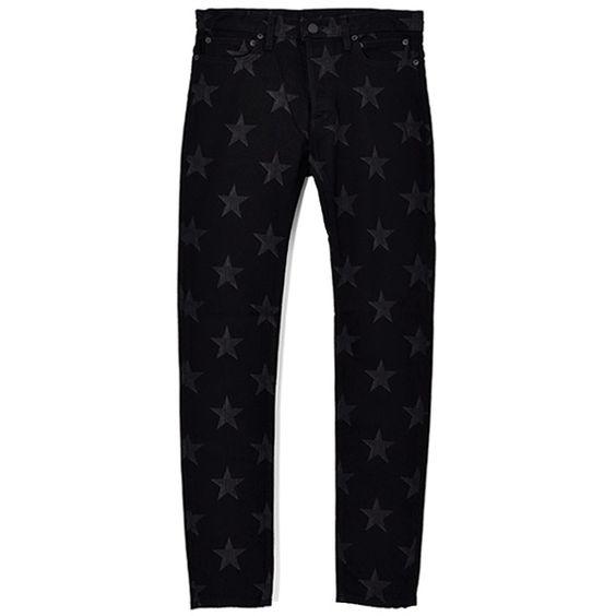 キムタク私物のスキニーデニムstar patterned stretch slim tapered 6pocket jean./black