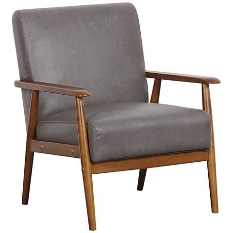 Rikker Lummus Gray Faux Leather Accent Chair In 2020 Leather Accent Chair Wood Frame Arm Chair Accent Chairs