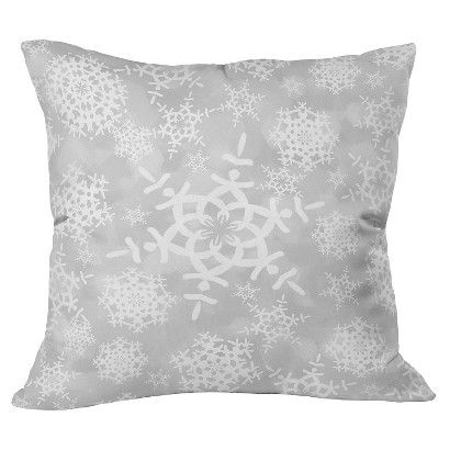 DENY Designs Snow Flurries in Gray Throw Pillow - Silver (20