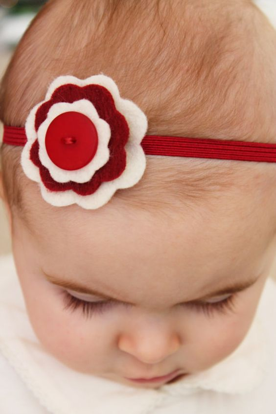 Valentine's Felt Flower Headband CREAM/RUBY by SweetCoralBells, $7.00