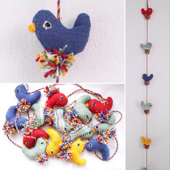 14-birds hanging. Made from woven cotton. Great for home decor!