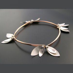 Image of Bamboo Bracelet - Skinny Leaves - Rose Gold Filled