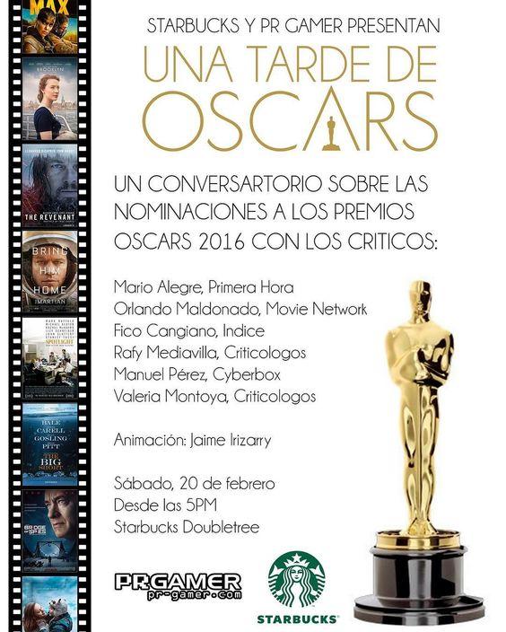 Hoy! @starbucks_pr y @realprgamer te invitan para dialogar sobre las nominaciones de los #oscars2016  con críticos del #cine de #puertorico