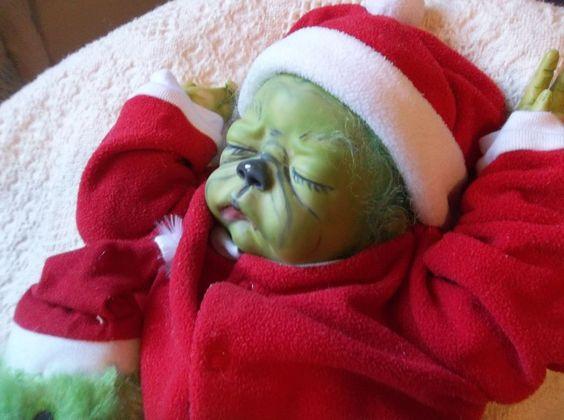 Reborn Baby Sleeping Grinch Art Doll Ooak Holiday Xmas