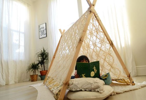 Magical Lace Tent for the kiddos. Simple tutorial from, A Beautiful Mess. DIY: http://www.abeautifulmess.com/2012/08/make-your-own-a-frame-tent.html
