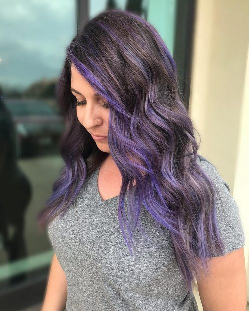 14 Perfect Examples Of Lavender Hair Colors In 2020 Purple Highlights Brown Hair Brown Blonde Hair Brown Hair With Highlights