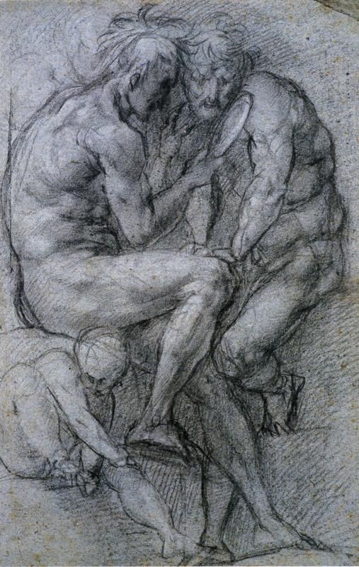 Two Male Figures Looking in a Mirror and a Putto. - Jacopo Pontormo, 1518: