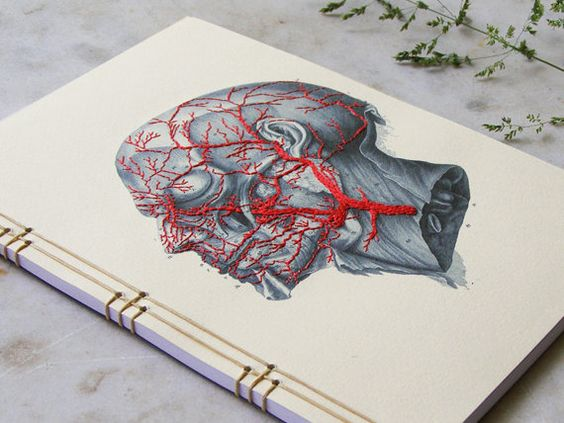 Anatomy Journal. Embroidered Notebook. Anatomical Journal. Gift for Doctor. Medical Student Gift. Medical Art. Science Gift. Stitch Art