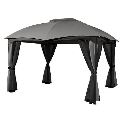 Sojag Phuket Grey Metal Rectangle Screened Gazebo Exterior 12 Ft X 10 Ft Foundation 11 22 Ft X 9 31 Ft Lowes Com In 2020 Patio Gazebo Steel Gazebo Gazebo