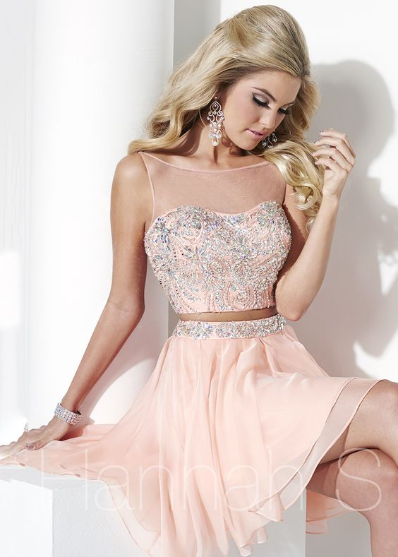 Hannah S 27944 Two Piece Cocktail Dress in Peach at RissyRoos.com ...