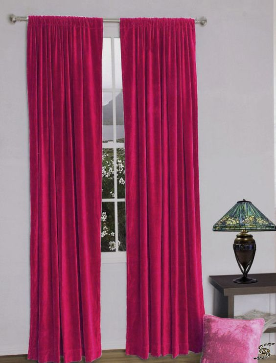 """1 piece 42""""x84"""" Length Décor velvet curtain Rod Pocket Fuschia - best stuff #Svocan"""