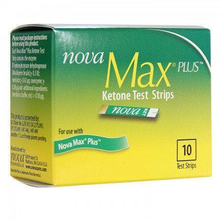 Nova Max Plus Ketone Test Strips - 10 ct Nova Max Ketone Test Strips are designed for use with the Nova Max Plus monitor. Nova Max Ketone Test Strips measure ke