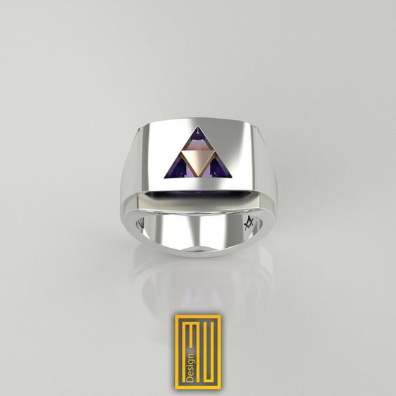 Triforce Ring Unique Design for Men 925k Sterling Silver body with Amethyst Gemstone and 14k Rose Gold by MuDesignJewelry on Etsy