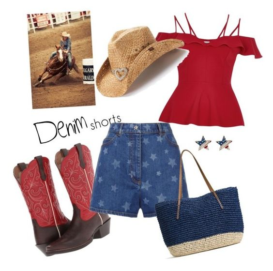 """""""Rodeo Girl"""" by parnett on Polyvore featuring Ariat, Valentino, River Island, G.H. Bass & Co., Peter Grimm, jeanshorts, denimshorts and cutoffs"""