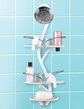 Convenience, organization and flair come together in the Bird Bath Shower Caddy.