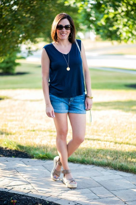 These Sole Society Audrina flatform espadrille sandals with Joe's Jeans rolled hem denim shorts and LOFT linen sleeveless v-neck is the perfect summer outfit for the modern mom about town. Fashion for Women Over 40: