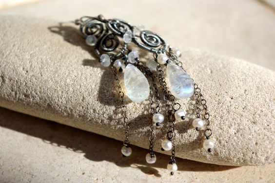 MOON LIGHT wire wrapped earrings by palmeras on Etsy, $75.00