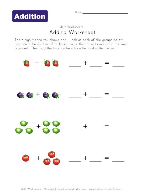 Pre School Worksheets : addition worksheet kindergarten easy ...
