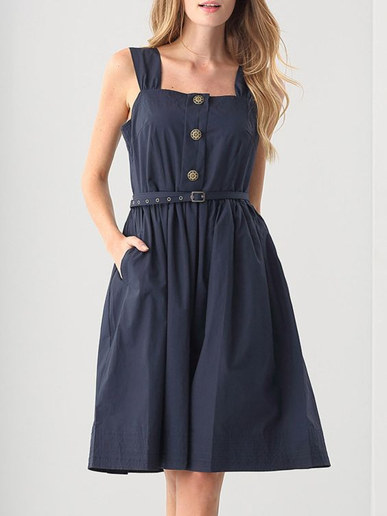 #AdoreWe #StyleWe Dresses - BLUEQUEEN Navy Blue Solid Square Neck Folds Simple Midi Dress with Belt - AdoreWe.net