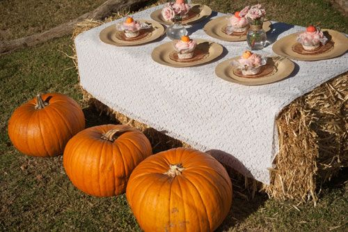 roses and pumpkin pink and orange first birthday party farm table made of hay bales with giant pumpkins for seats