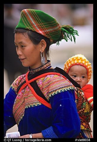 Young Flower Hmong Woman and Baby in Bac Ha, Vietnam