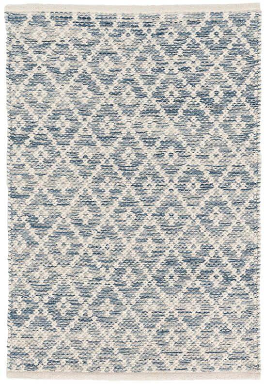 Melange Diamond Blue Woven Cotton Rug Dash Albert Cotton Rug