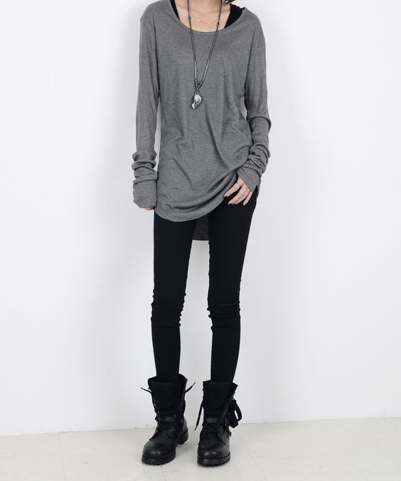 Love the boots and the wide sweater. But i absolute hate leggings. I would wear a nice tight jeans or sth like that ...