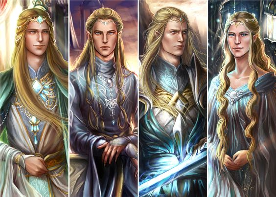 …Of like mind with Galadriel was Fingon Fingolfin's son, being moved also by Fëanor's words, though he loved him little; and with Fingon stood as they ever did Angrod and Aegnor, sons of Finarfin. But these held their peace and spoke not against their fathers. ~The Silmarillion, Of the Flight of the Noldor. (Artwork: House of Finarfin [Finrod, Angrod, Aegnor, Galadriel] by ForeverMedhok on deviantaer)
