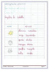 Scuola primaria: percorso didattico sui verbi in classe II