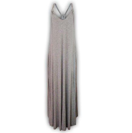 vestido malha canelada mescla claro longo frente