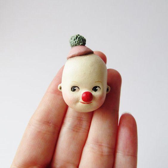 Kewpie Clown Brooch by Dottie Dollie