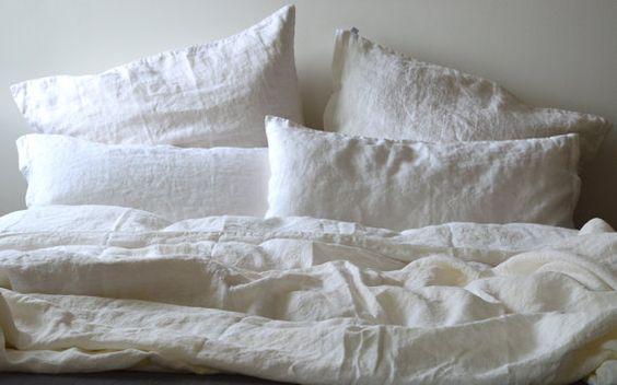 Weiße Bettwäsche Set, Stone Washed, Naturleinen Bettbezug 220 x 240 cm, Kissenbezug 80 x 80 cm (2.pc.)