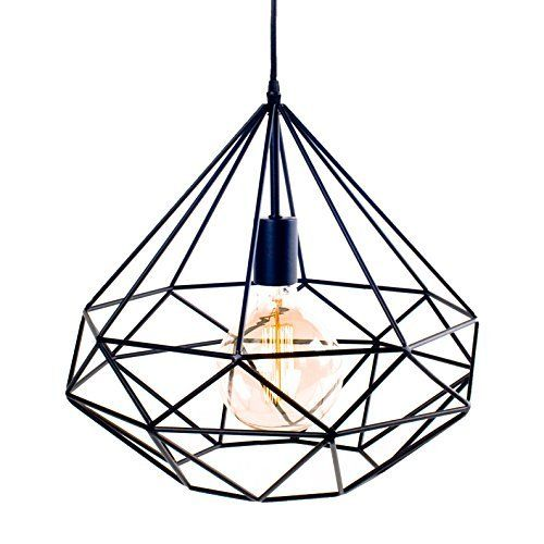 Suspension azal e m tal noir lignes droites ampoule for Lampe suspension ampoule
