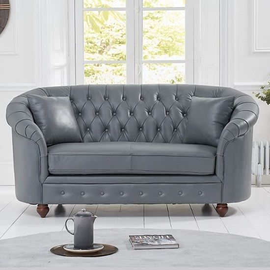 Litzy Two Seater Leather Chesterfield Sofa In Grey Leather Chesterfield Chesterfield Sofa Grey Furniture