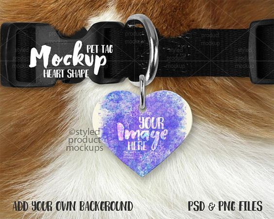 Heart Shaped Pet Tag On A Dog Collar Mockup Template Add Etsy Pet Tags Free Psd Mockups Templates Mockup Free Psd
