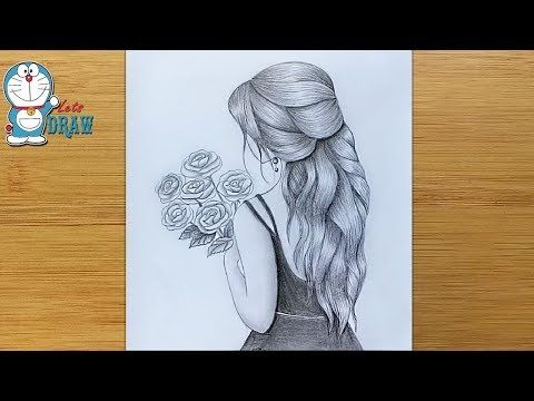 How To Draw A Girl With Flowers Step By Step Beautiful