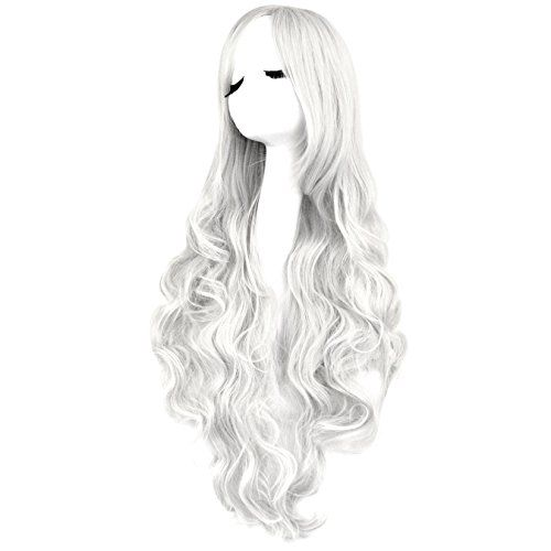 80cm Long Wavy//Curly Cosplay Fashion Wig heat resistant silver white