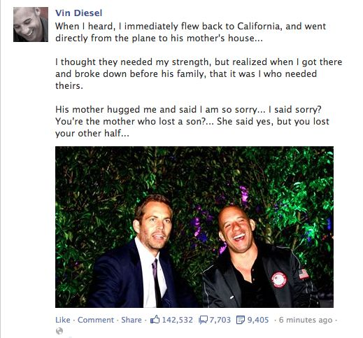 Vin Diesel on Paul Walker's Death - Imgur // Of all the things posted about Paul Walker's death, I think this one made me the saddest.