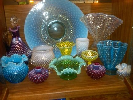 Fenton hobnail opalescent... beautiful collection.