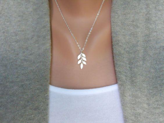 sterling silver & rhodium leaf necklace.