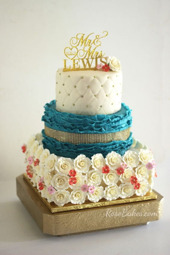Teal & Coral Roses and Ruffles Wedding Cake