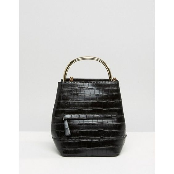 Mango | Mango Croc Detail Metal Handle Backpack ($61) found on Polyvore: