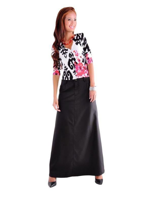 Plain Black Long Skirt   Office Skirts   Pinterest   D, Skirts and ...