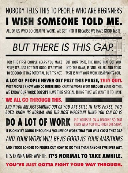 Words of encouragement for creative people..